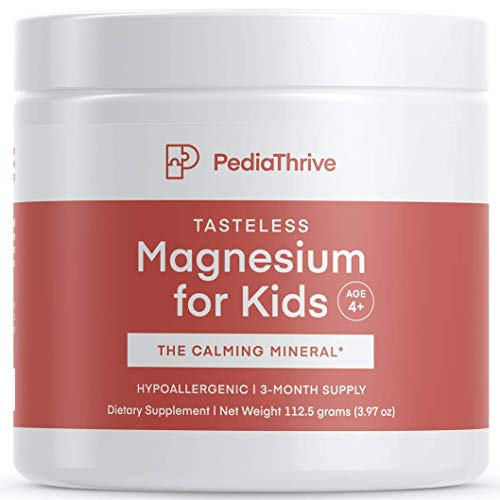 Tasteless, Calming Magnesium for Kids- 3 Month Supply- Non-Laxative, Vegan, Non-GMO, Hypoallergenic, Third-Party Tested for Purity and Potency