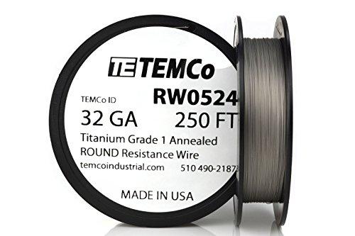 TEMCo Titanium Wire 32 Gauge 250 FT Surgical Grade 1 Resistance AWG ga