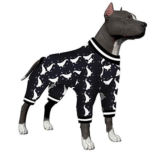 LovinPet Großer Hunde-Pyjama, nach Operationen, Erholung für große Hunde, Beluga-Schneeflocken-Druck-Shirt, leichter Pullover, Hundebekleidung, vollständige Abdeckung, Wundpflege für große Hunde