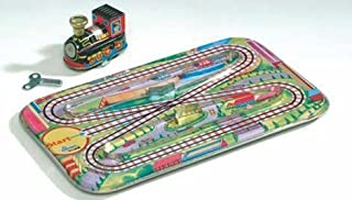 Tin Toy Modern Train Vintage Action Set with Track and Wind-up Engine