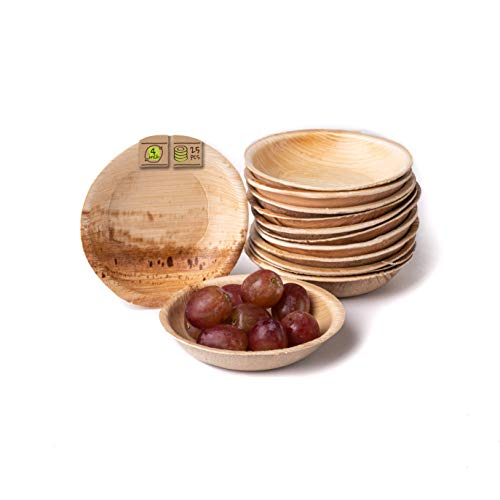 "Naturally Chic Compostable Biodegradable Disposable Plates - Palm Leaf 4"" Round, Small Dinnerware Set - Eco Friendly Alternative - Party, Wedding, Event Plates (25 Pack)"
