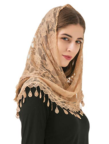 Pamor Mass Veil Triangle Mantilla Cathedral Head Covering Chapel Veil Lace Shawl Latin Scarf (Champagne)