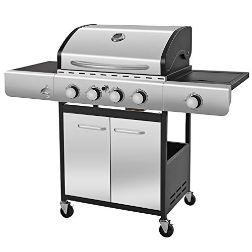 R.W.FLAME Liquid Propane Gas Grill with 4-Burner, Bottle Opener, Side Burner, Enamelled Cooking Grills, Stainless Steel Gas BBQ Wagon Grills Propane