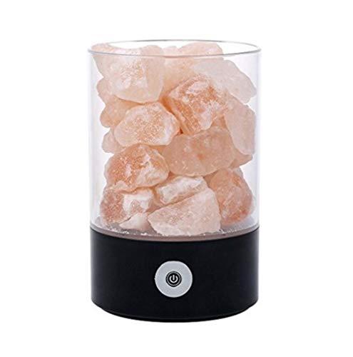 Natuurlijke kristallen zoutlamp luchtreiniging dimbaar roze zout bergkristal LED bureau nachtlampje met instelbare lampen, zwart