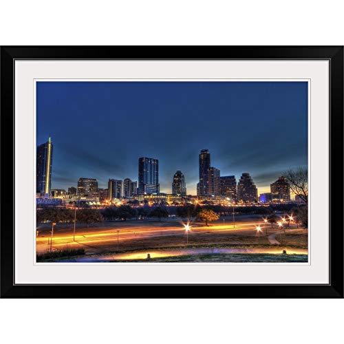 "GREATBIGCANVAS Austin Skyline Black Framed Wall Art Print, Home Decor, 18""x12""1"""