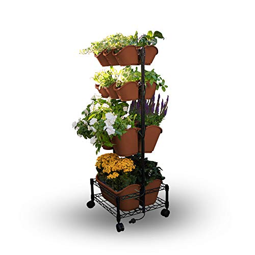 Watex Mobile Green Wall (Double Frame, Terra Cotta), BPA Free Planters