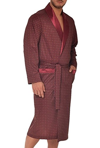 LEVERIE edler und hochwertiger Morgenmantel für Herren mit elegantem Muster, Bordeaux mit Muster 2, Gr. L