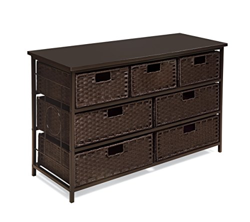 August Collection Wide Seven Basket Drawer Storage Unit