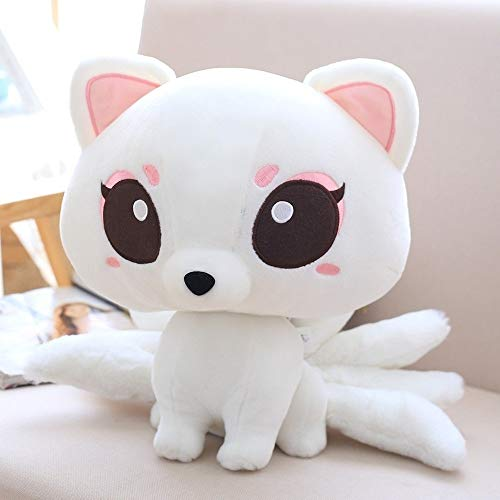 Lotus Job Cute Doll Nine-Tailed Fox Plush Toy Girl (23 cm,White)