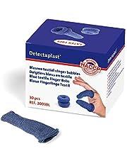 Esparadrapo largo para dedos Detectaplast, azul, para uso en la restauración, protección de los dedos en caso de lesiones, repelente de la suciedad, 30 uds.