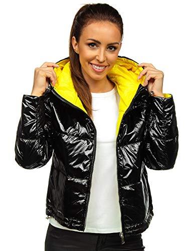 BOLF Damen Übergangsjacke Steppjacke Reißverschluss Outdoorjacke Schuljacke Classic Hoodie Freizeitjacke Herbst Style S-WEST B9553 Schwarz S [4D4]
