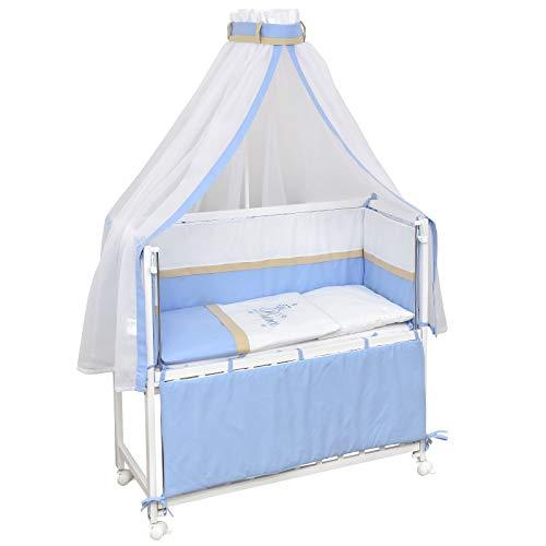 Baby Delux Beistellbett Prince Stubenwagen mobil Babybett Holz weiß 90x40cm inkl. Matratze und Komplett Bettset mit Stickerei