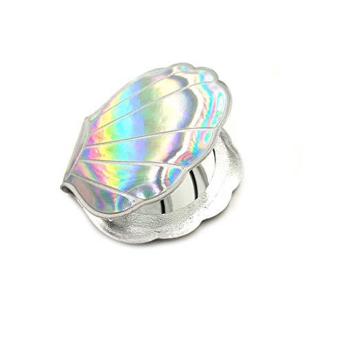Compacte Spiegel Fan Shell Ontwerp PU Lederen Creatieve Kleine Spiegel Geschenken voor Vrouwen Geschenken Vergrootglas Make-up Handtas Spiegel Dubbele Maten Reisportemonnee Spiegel