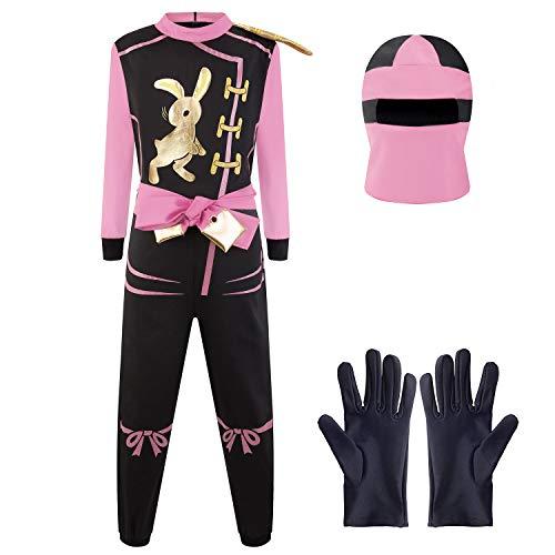 Katara 1771 - Ninja Kostüm Anzug, Kinder, Verkleidung Fasching Karneval, Größe M, Pink Schwarz