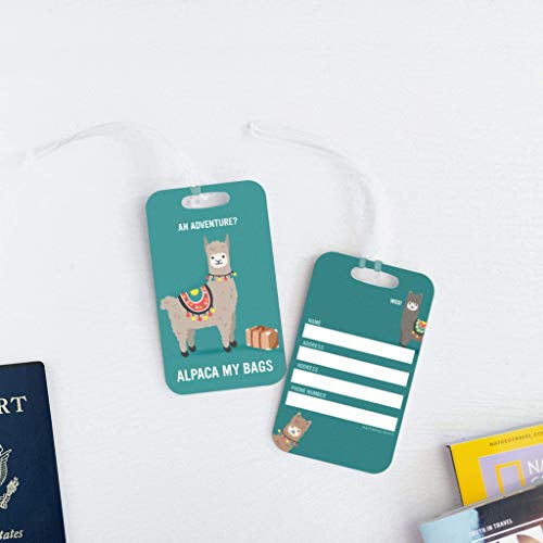 Blue Metal Alpaca Luggage Tag
