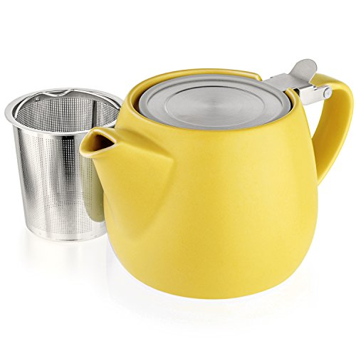 Tealyra - Pluto Porcelain Small Teapot Yellow - 18.2-ounce (1-2 cups) - Matte Finish - Stainless Steel Lid and Extra-Fine Infuser To Brew Loose Leaf Tea - 540ml