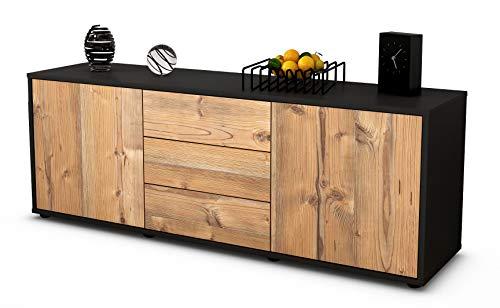 Stil.Zeit Möbel TV Schrank Lowboard Ameline, Korpus in anthrazit matt/Front im Holz Design Pinie (135x49x35cm), mit Push to Open Technik und hochwertigen Leichtlaufschienen, Made in Germany