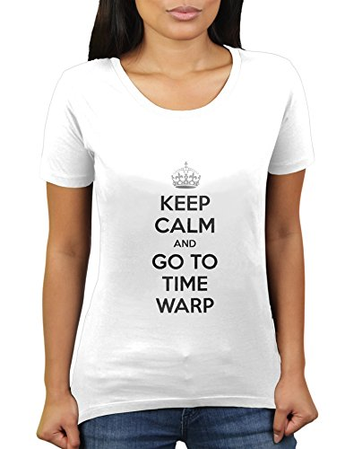 Keep Calm and Go to Time Warp Party Minimal Electro Outfit - Damen T-Shirt von KaterLikoli, Gr. 2XL, Weiß