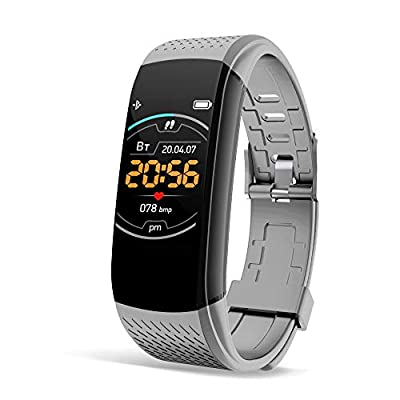 """Super me Fitness Tracker, Heart Rate Monitor Step Calorie Counter Sleep Monitor, 1.08"""" Color Screen Activity Tracking Pedometer, Gray"""