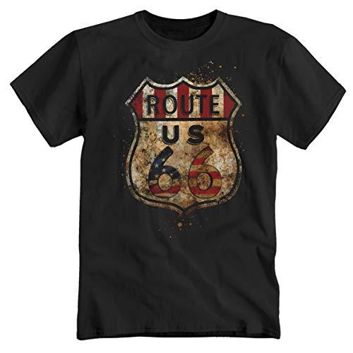 Route 66 Chopper Truck Trucker USA Amerika Oldschool schwarz T-Shirt Tee Polo Shirt Hemd (XXL)