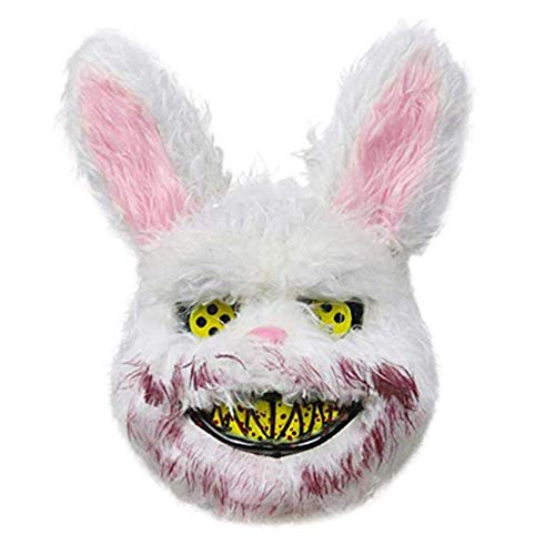 SCLX Halloween Scary Mask Bloody Plush Bear Mask Cosplay Costume Props Halloween Party for Adults Black