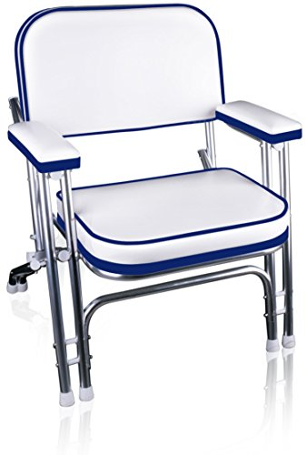 Leader Accessories Portable Folding Deck Chair with Aluminum Frame and Armrests(White/Blue)