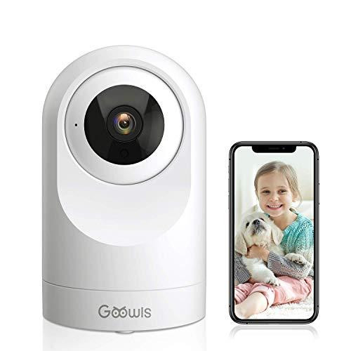 WLAN IP Kamera, Goowls Überwachungskamera Innen, 1080P HD Smart Home Sicherheitskamera, Nachtsicht, Bewegungserkennung und Alert, 2-Wege-Audio, Babyphone mit Kamera Kompatibel mit Alexa