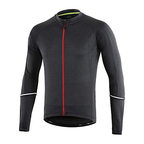 Dooy Cycling Bike Jersey Men Long Sleeve Biking Shirts with 3+1 RearPockets, Breathable Quick Dry Bicycle Jerseys (Dark Grey, M)