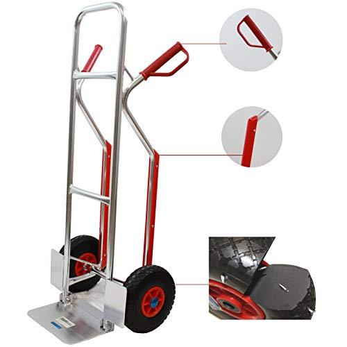 Aluminium Sackkarre mit Treppenrutsche 200 kg Stapelkarre Transportkarre Treppensteiger Alu Klappbare Ladefläche Sicherheits-Haltegriffe (200kg   PU - Räder)