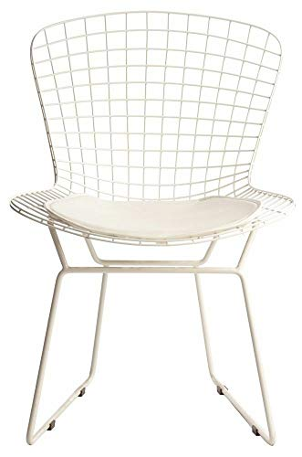 ElleDesign - Silla Bertoia con estructura lacada blanca Total White, cojín blanco
