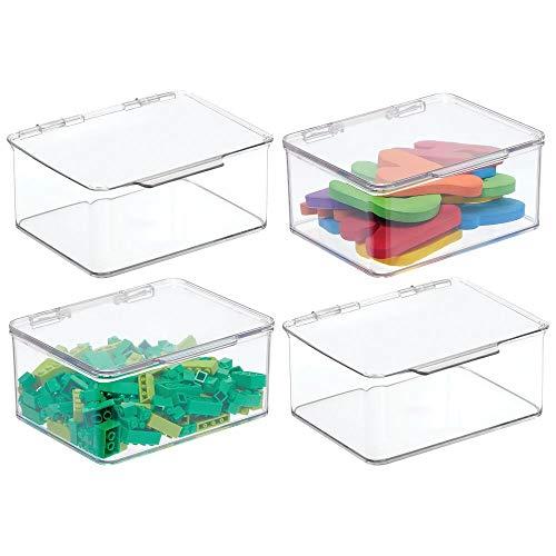 mDesign Juego de 4 cajas de almacenaje con tapa – Organizador de juguetes apilable para la habitación de los niños – Guarda juguetes fabricado en plástico – transparente