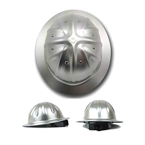ZYDSD Aleación De Aluminio Cascos Cascos Cascos De ala Completa Diseño De Borde Completo Placa De Refuerzo Superior Forro De Algodón Plata Reducción De Vibraciones De 4 Puntos
