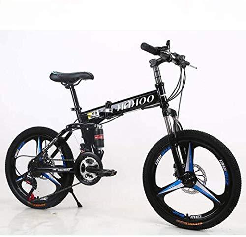 Chenbz Outdoor sports 20' Mountain Bike Folding Bikes, Featuring 3 Spoke Double Disc Brake Full Suspension AntiSlip, Suspension Fork (Color : Blue)