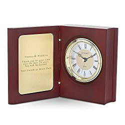 Things Remembered Personalized Mahogany and Gold Book Clock with Engraving Included