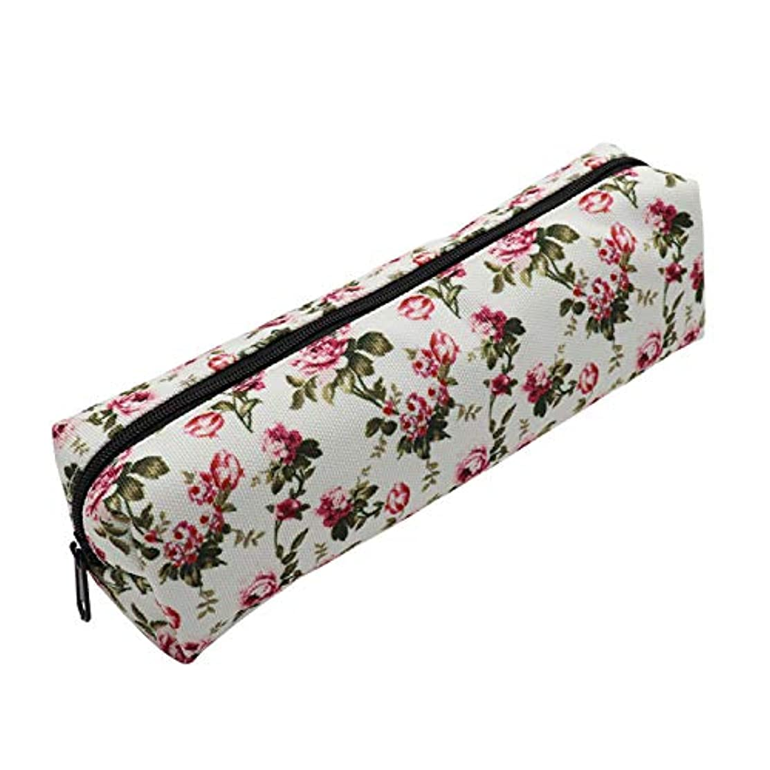 Aiphamy Rose Flowers Pencil Case Holder Zipper Canvas Pen Pouch Bag for Boys Girls Kids Teens Teenagers Student Women (White)