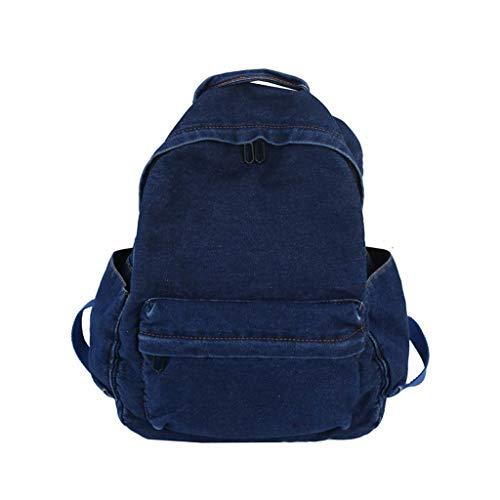 chenpaif Mochila de Viaje Vintage de Tela Vaquera para Colegio, para Adolescentes, Color Azul Oscuro Azul Oscuro