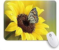 NIESIKKLAマウスパッド カントリフローラルの素朴なヒマワリ蝶 ゲーミング オフィス最適 高級感 おしゃれ 防水 耐久性が良い 滑り止めゴム底 ゲーミングなど適用 用ノートブックコンピュータマウスマット