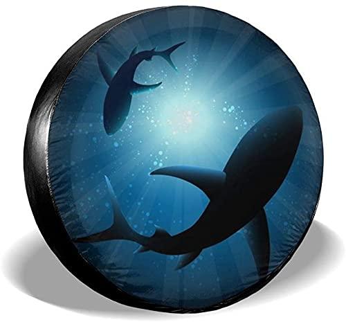 MODORSAN Sharks in The Sea - Cubierta para llanta de Repuesto,poliéster,Universal,de 17 Pulgadas,para Rueda de Repuesto,para Remolque,RV,SUV,camión,camión,Camper,Viaje,Remolque,Accesorios