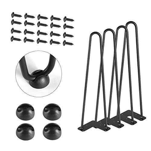 TE DEUM 16' Satin Black Hairpin Coffee Table Legs(Set of 4), Metal Heavy Duty Sturdy Sharp Looking Modern Table Legs