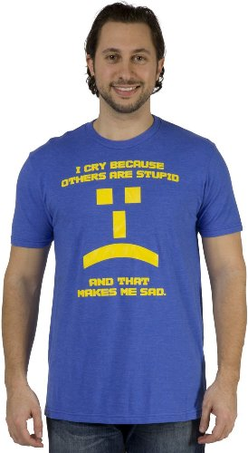 Big Bang Theory Others are Stupid Emoticon Homme's Bleu T-Shirt | XL