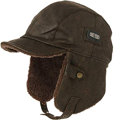 Unisex Pilot Hat Aviator Cap Leather Adult Brown Women Winter Trapper Hunting Hats