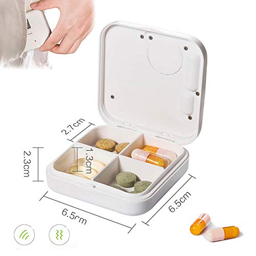 Slimme kleine medicijndoos, elektronische wekker Herinneringstijd 4/6 rooster Plastic opbergdoos LCD-scherm Stof en vocht,A