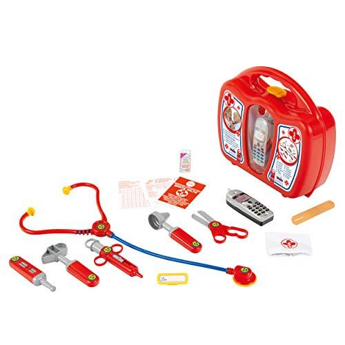 Theo Klein 4350, Maletín de médico con teléfono móvil, robusto con estetoscopio, jeringuilla y mucho más, Incluye teléfono móvil a pilas con sonido
