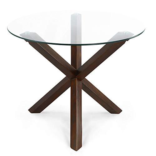 "POLY & BARK Kennedy 37.4"" Round Dining Table, Walnut"