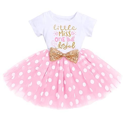 FYMNSI Vestido de manga corta para bebé, niña, de algodón, tutú de tul, línea A, vestido de princesa, vestido de fiesta para sesión de fotos., Rosa Little Miss One Derful (vestido solo), 12 meses