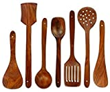 Simran Handicrafts Wooden Serving and Cooking Spoons Wood Brown Spoons Kitchen Utensil Set of 7