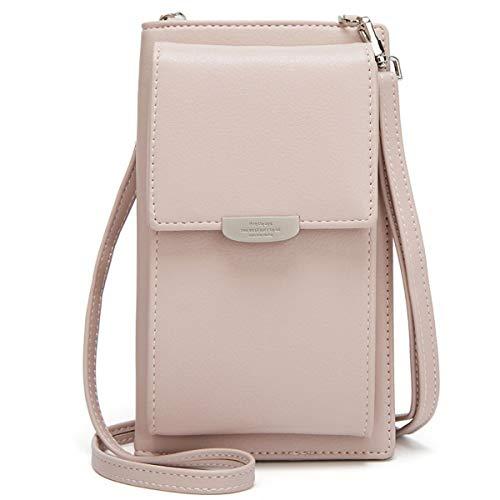 ZhengYue Frauen Brieftasche Cross-Body Tasche Leder Geldbörse Handy Mini-Tasche Kartenhalter Schulter Brieftasche Tasche Pink