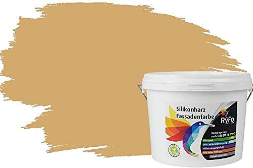 RyFo Colors Silikonharz Fassadenfarbe Lotuseffekt Trend Sandgelb 3l - bunte Fassadenfarbe, weitere Gelb Farbtöne und Größen erhältlich, Deckkraft Klasse 1