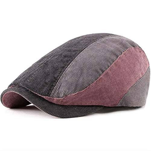 SANKANG Nuevos Boinas Sombreros de Invierno otoño Mujeres de los Hombres de la Boina de Lana Cap Remiendo de la Pana de Gorras de Plato for los Hombres de Las Mujeres (Color : Dark Grey Striped)