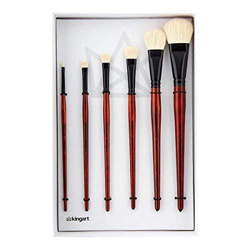 KINGART Specialty-Natural Goat Hair MOPS-Set of 6 Paint Brush Set, Brown/White/Black